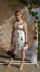 Коктельное платье в греческом стиле с ручной вышивкой