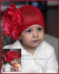 Эксклюзивные вязанные аксессуары панамы, шапочки украшенные цветами